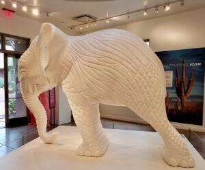 elephant made out of recycled plastic